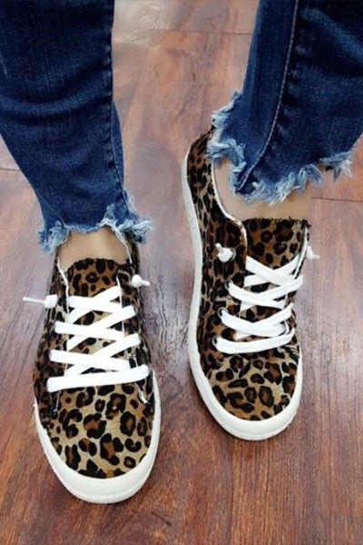 5ac6877a4c3e74 Comfortable Classic Canvas Sneakers-Leopard Print in 2019