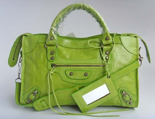 Balenciaga grass-green weekender bag...
