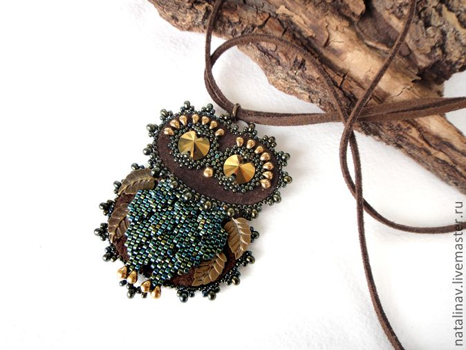 64 best beadwoven pendants beaded beads images on pinterest rather charming bead embroidered owl pendant using brass leaf charms to simulate wing feathers sweet aloadofball Gallery