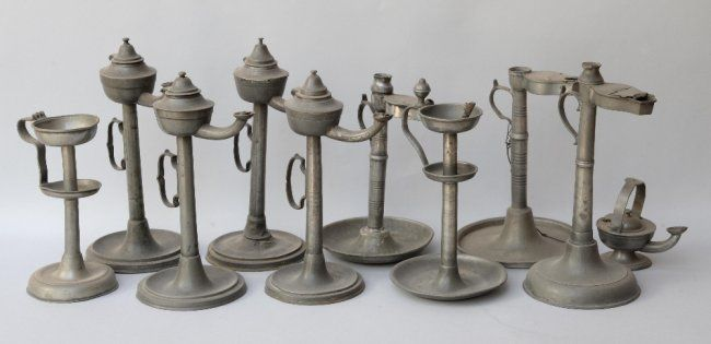 Collection of ten pewter oil lamps, : Lot 280