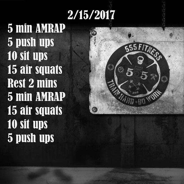 12 min AMRAP: Push ups, sit ups, air squats 2/26/17 4+3 squats & 4 + 2 push ups