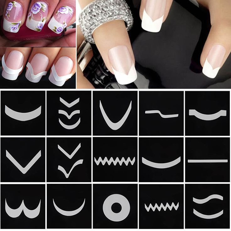 18 Sheets/Set French Manicure DIY Nail Art Tips Guides Stickers Stencil Strip