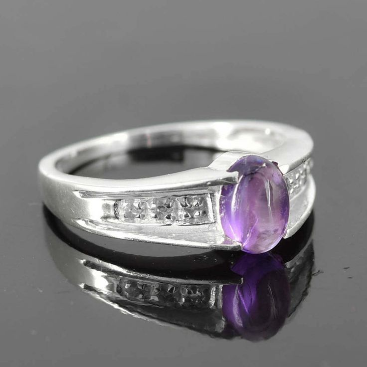 Amethyst Ring, 0.9 ct, Purple, Oval Cut, Birthstone Ring, February, Gemstone Ring, Sterling Silver Ring, Solitaire Ring, Statement Ring by JubileJewel on Etsy