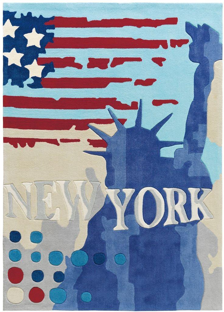 The Big Apple as a striking rug for #kids or #teen rooms! || Arte Espina design vloerkleed New York, cool voor zowel kinderkamer als tienerkamer. http://www.speelkledenwinkel.nl/vloerkleed-new-york-tienerkamer.html