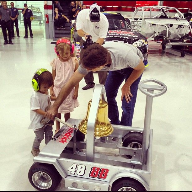 Ringing the victory bell with everyone at Hendrick Motorsports today. Leo & Ella having fun, so we need to do this more often!