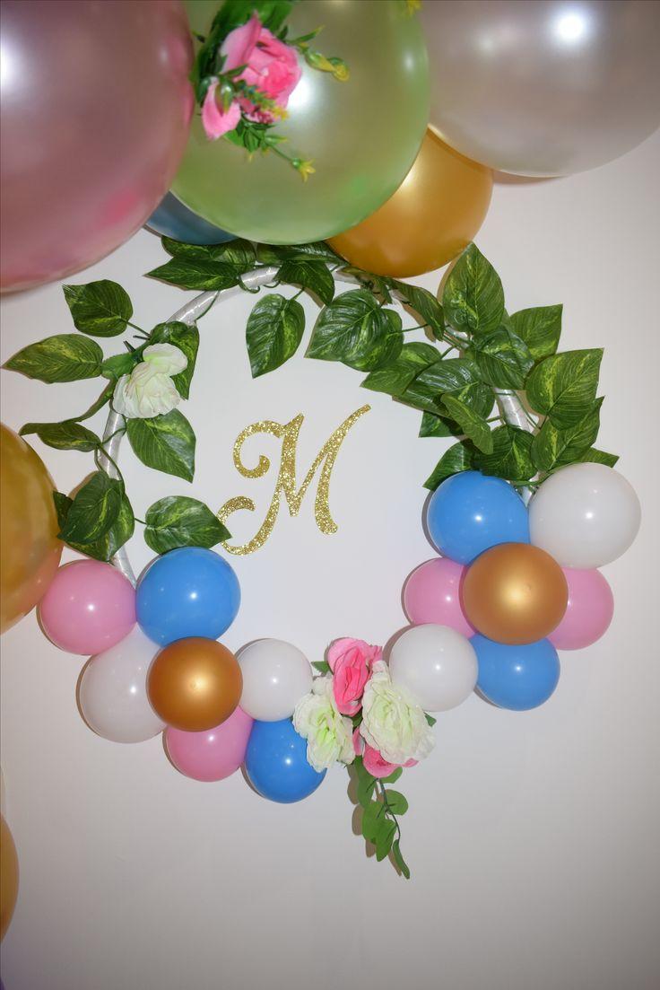 Corona de globos y flores #unicornparty
