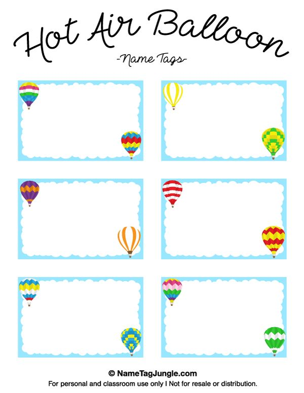 free printable hot air balloon name tags the template can also be used for creating