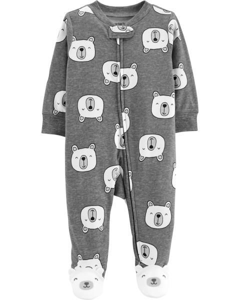 cb22656c4212 Baby Boy Polar Bear Zip-Up Cotton Sleep   Play