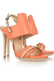 :: coral & nude ::: Colors Combos, Twoton Leather, Two Ton Leather, Krakoff Two Ton, Summer Shoes, Leather Sandals, Two Tones, Coral Shoes, Reed Krakoff