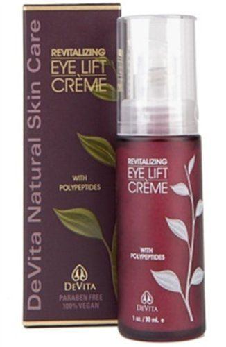 Devita Revitalizing Eye Lift Creme 1 oz by DeVita. $15.49. 1 Ounces Cream. Serving Size:. Devita's exclusive formula for their Daytime Nutritional Moisturizer contains a rare essential oil and vegetal blend to soothe and normalize all skin types. The Evening Nutritional Moisturizer contains a powerful blend of rich and creamy moisturizing liposomes, humectants, aloe vera and Vitamin E that replenishes and conditions the skin overnight. Daily Solar Protective Mo...