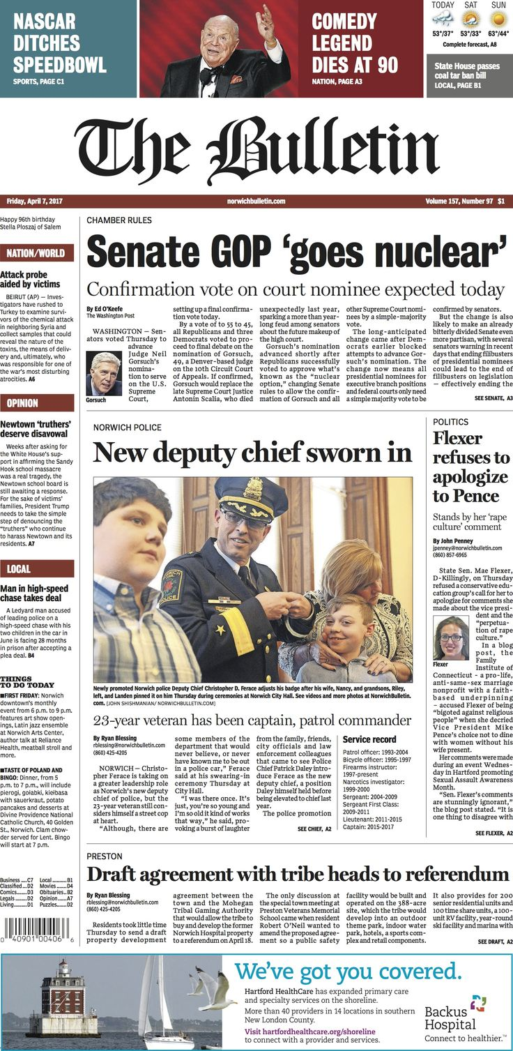 Friday, April 7, 2017 - Subscribe to The Bulletin today: http://www.norwichbulletin.com #ctnews #newlondoncounty #windhamcounty
