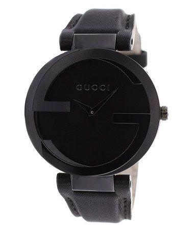 This Black Interlocking Leather-Strap Watch is perfect! #zulilyfinds