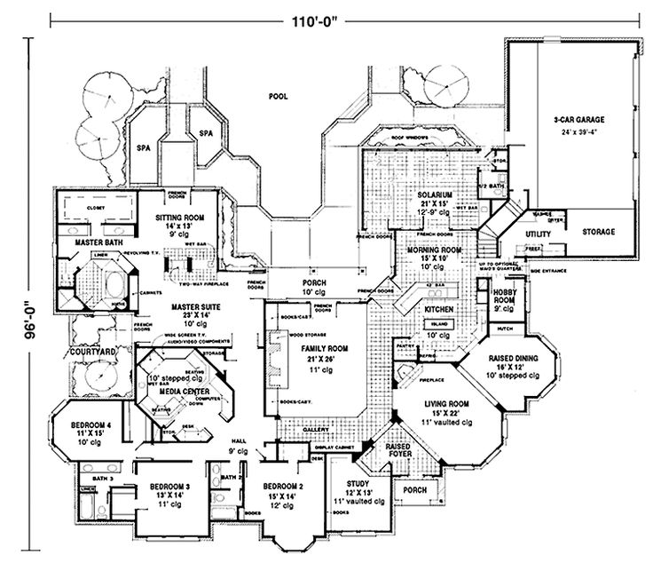 House Plans With Media Room: 4,958 Square Feet, 4 Bedroom 3