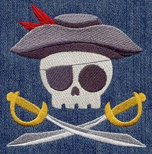 Embroidery Designs at Urban Threads - Skully PirateCustom Kitchens, Skully Embroidered, Kitchenbathroom Towels, Pirates Skully, Embroidery Design, Kitchens Bathroom, Skully Pirates, Skull Towels, Pirates Design