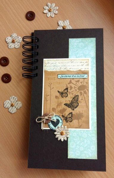 """Superbe mini de Marianne38 :""""La saveur d'un instant"""": mesures: 23,5x12 cm ; papiers vanille, vert d'eau, kraft et marron--Pochoirs fleurs et écriture de FD et encres sable et lin de FD: 7-06-16"""