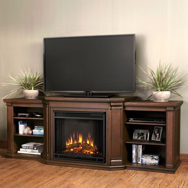 Real Flame Valmont Chestnut Oak 75.5 in. L x 21.5 in. D x 27.7 in. H Entertainment Center Electric Fireplace