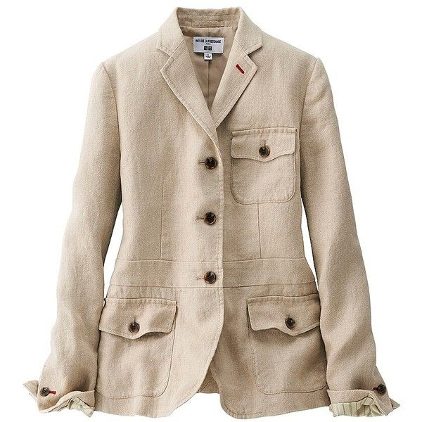UNIQLO Ines Heavy Linen Jacket ($115) ❤ liked on Polyvore featuring outerwear, jackets, lined jacket, brown linen jacket, pattern jacket, uniqlo and linen safari jacket
