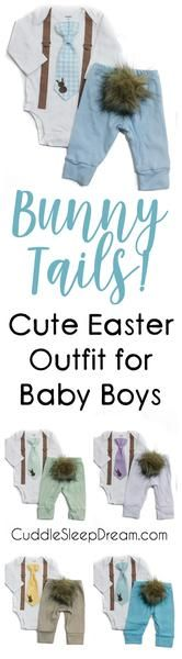 Cute Baby Boy Easter Outfit, Easter Clothes for Babies, Bunny Hop Outfit Set, Bunny Tail