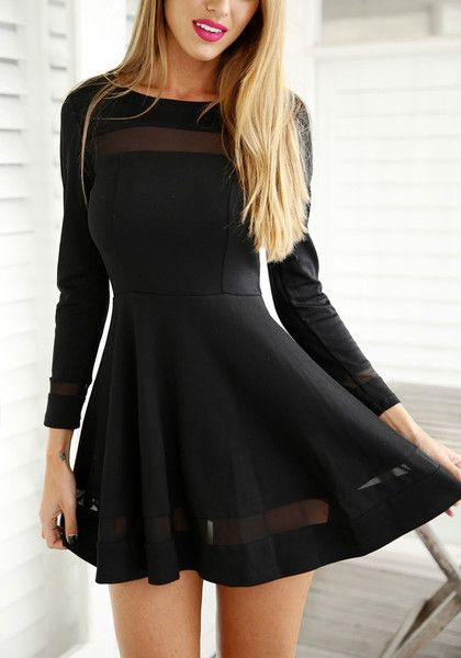 Make room for one more LBD in your closet because this black mesh panel skater dress is something you'll want to have stat.