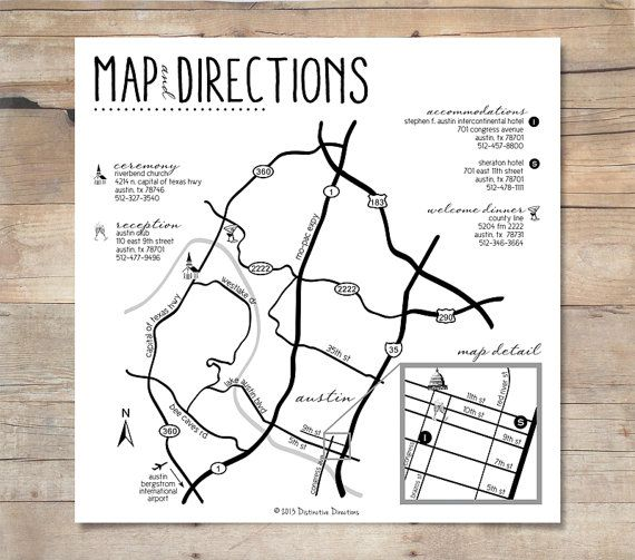 A custom designed map and directions for your wedding or event. Include this map with your invitation or inside an out of town bag for your