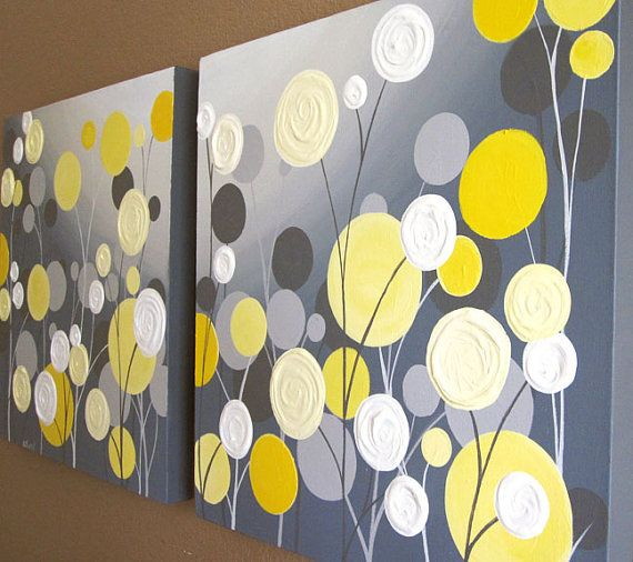 Wall Art, Textured Yellow and Grey Abstract Flower Garden, two 20x20 Acrylic Paintings on Canvas, MADE TO ORDER via Etsy