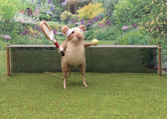 Felted Mouse, Miniature Mouse playing Tennis with Racquet and Ball