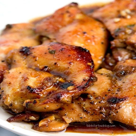 Slow cooker honey-soy chicken.Chicken breasts with honey and soy sauce cooked in slow cooker.