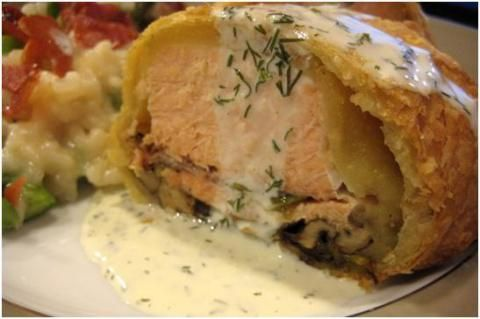 Salmon in a puff pastry with Dill sauce yum!