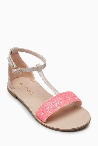 4f9eccd0d Fluro Pink Glitter T-Bar Sandals (Older)