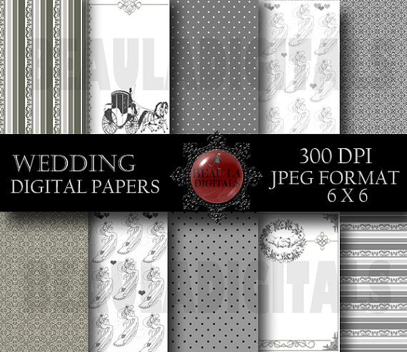 10 Wedding Papers  for Scrapbooking PU & CU 6 x 6 - Instant Download
