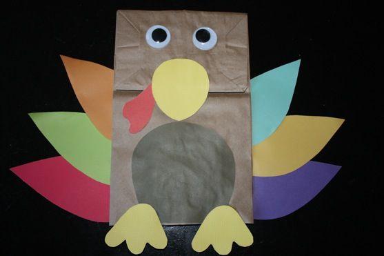 Preschool Crafts for Kids: Thanksgiving turkey paper bag craft