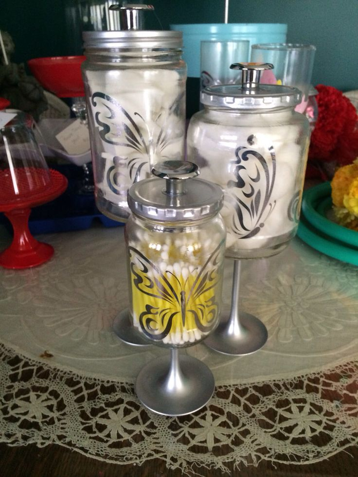 Silver Butterflies Bathroom Apothecary Jars by KaarasKraftyKorner on Etsy https://www.etsy.com/listing/185212785/silver-butterflies-bathroom-apothecary