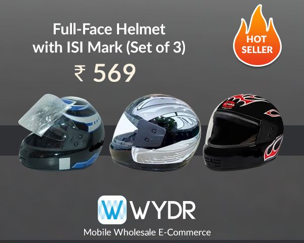 Looking to source helmets? We have a great offer for you right here. Buy set of three ISI mark helmets at superb margins from Wydr Wholesale App. Chat with seller and lock your deal.