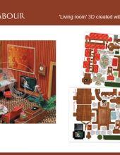 LIVING ROOM 3D // SALOTTO 3D -  Il soggetto di questo cartoncinio è il salotto ed è composto da : divano, tavolo, poltrone, tv, scrivania, lampada, dipinti, orologio, giradischi, sedia, libri ecc. Tutti questi elementi sono da assemblare per ottenere un arredamento 3D in due stili di arredo differenti. Il tutto stampato fronte/retro con il brevetto Deco Easy.   Dettagli: misura 34,5 x 49,5 cm, stampata su carta da 300 gr/mq // Details : size 34.5 x 49.5 cm, printed on 300 g/sqm