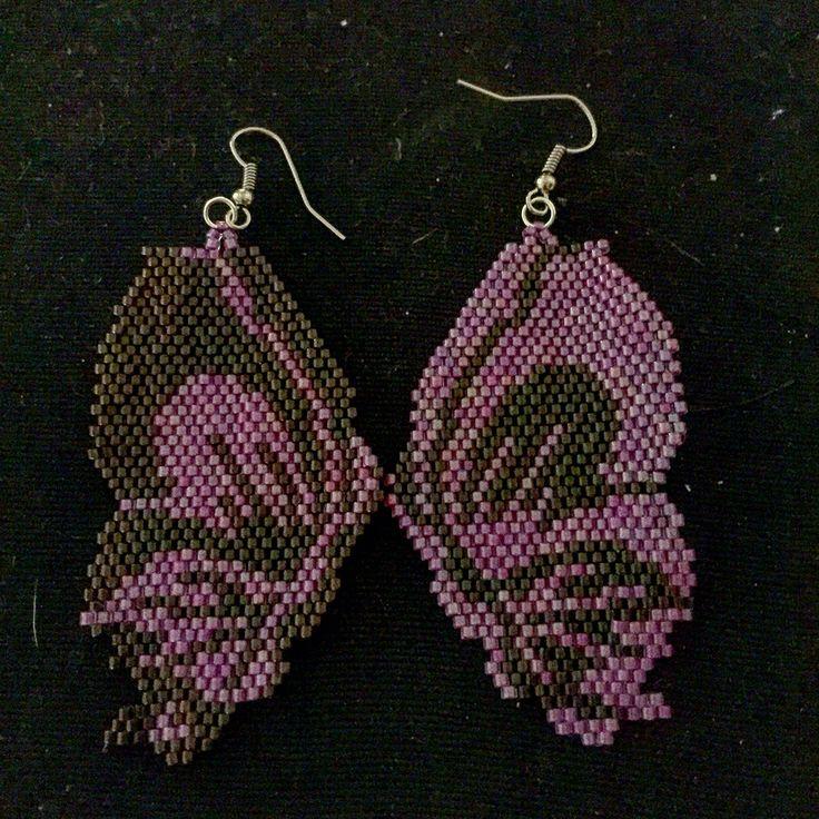 Brick stitch earrings butterfly
