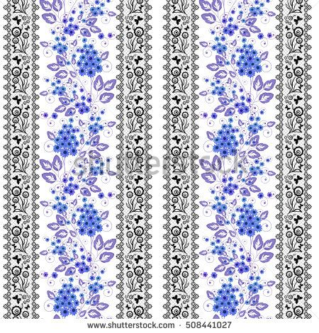 Floral seamless pattern ,cute cartoon blue flowers white background with black lace stripes. For printing on fabric and paper.