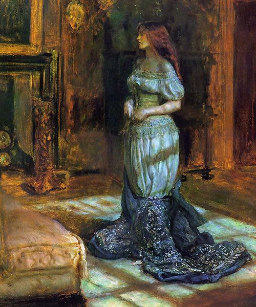 """John Everett Millais, """"The Eve of Saint Agnes"""", 1863. His wife Effie is the model. I love the tilt of her head and the hair falling down her back against that gorgeous blue."""