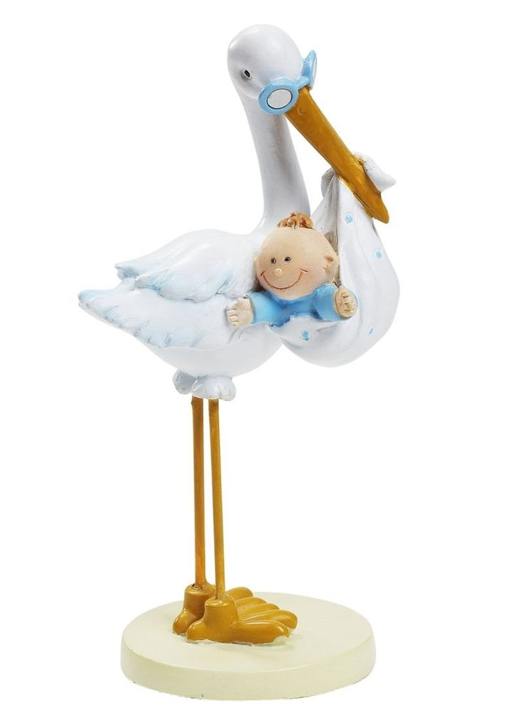 Rigtig flot og super sød barnedåbspynt med en stork med baby dreng fra Sjovogkreativ.dk til din drenge barnedåb og baby shower.
