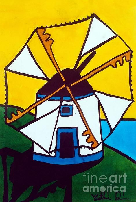Portuguese Singing Windmill - Art by Dora Hathazi Mendes  #art #painting #prints #totebags #throwpillows #mobilecover #windmill #portugal