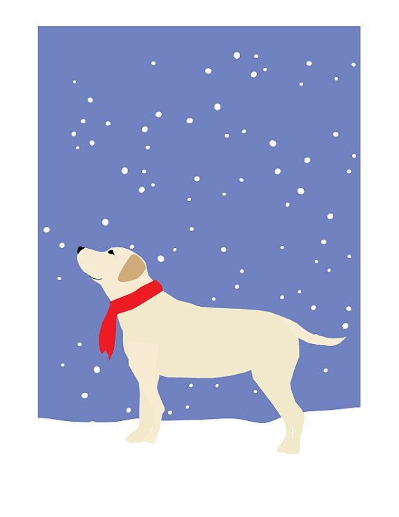 yellow lab in snow greeting cards by LizzyClara on Etsy