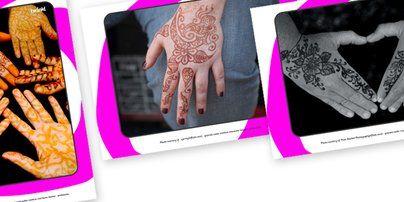 Twinkl Resources >> Mehndi Henna Display Photos >> Classroom printables for Pre-School, Kindergarten, Primary School and beyond! mehndi, display photos, display, pattern, decoration, henna, art, diwali, hindu, display images, display picture, india, pakistan, nepal, bangladesh, maldives, vedic, tattoo, hands, karva chauth, bhaidooj, teej,