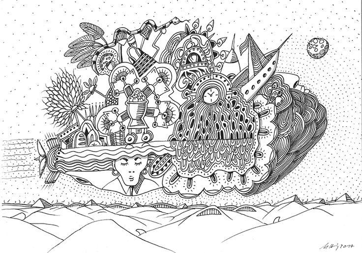 """""""crazy travelling"""", #Zeichnung #Pigmenttusche (Staedtler Pigment Fineliner) auf #Hahnemühle #Papier """"Nostalgie"""", 190 g/m2 21 x 29,7 cm, © #matthias #hennig 2017    """"crazy travelling"""", #india #ink #drawing (Staedtler Pigment Fineliner) on Hahnemühle #paper """"Nostalgie"""",190 g/sqm 21 x 29,7cm, © #matthias #hennig 2017 #myStaedtler #hennigdesign #artwork #moremoneyforartists #unexpected"""