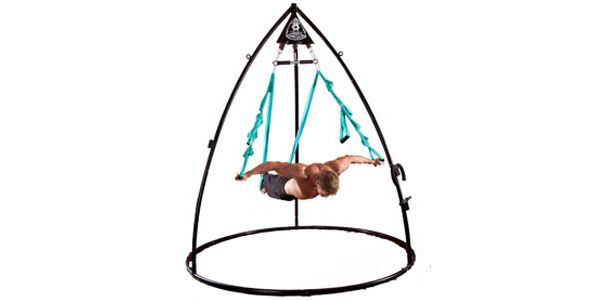 No-impact fitness flying! The Omni-Gym uses body-weight resistance to increase strength and flexibility. It can also be used for spinal inversions, relaxation swinging, and pretending you are in Cirque du Soleil