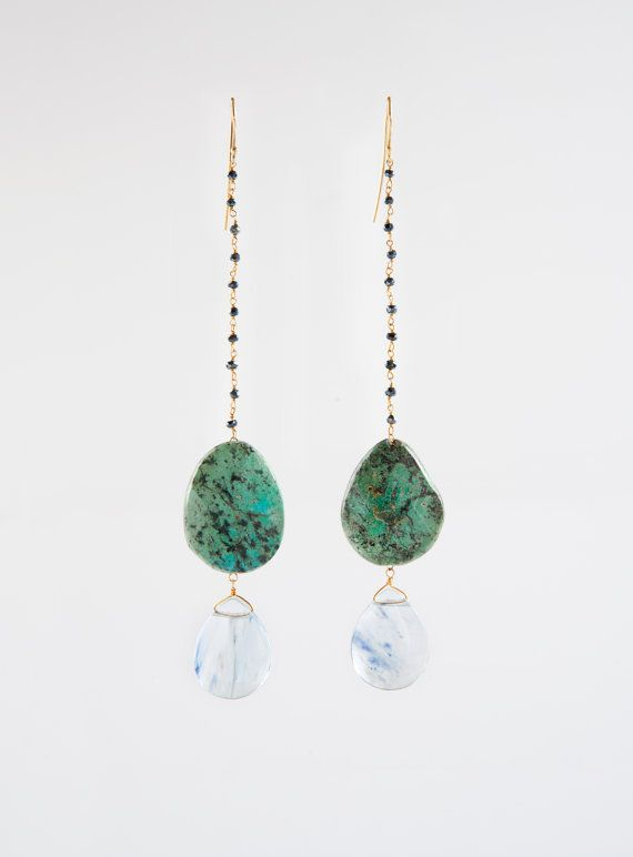 Full Moon Earrings // African Turquoise, Spinnel, Blue Rutilated Crystal Quartz Drop, Sterling Silver Hand Hammered Hoops
