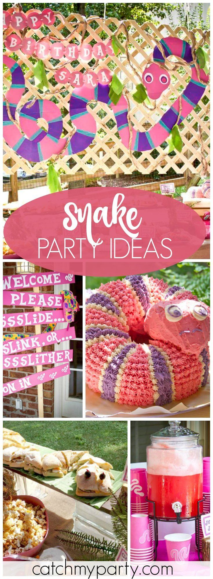 How fun is slithery pink snake birthday party! See more party ideas at Catchmyparty.com!
