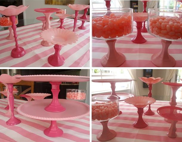 plastic dollar store trays and candle holders spray painted and glues together, um yes. I think so!!!!