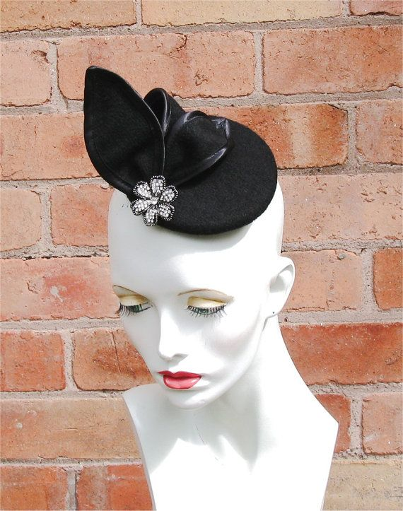 Black Tail Fascinator Hat With Diamonte By Sarasewsvintage 38 00