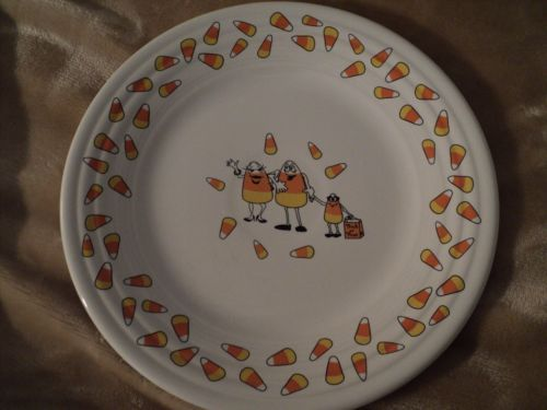 6-Fiestaware-Luncheon-Plates-Lot-Pumpkin-Happy-Face-Scare-Crow-Candy-Corn-House