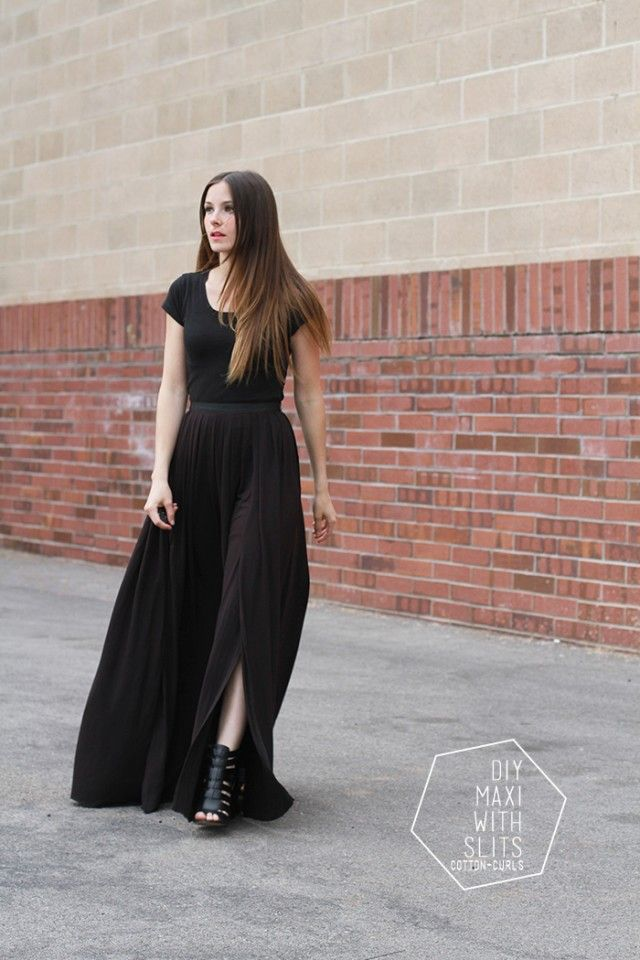 4 step DIY maxi skirt with optional slits