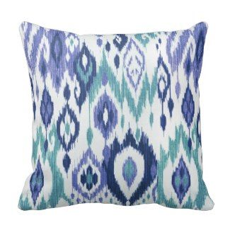 Throw Pillow Website : Boho Chic slate aqua icy blue Ikat Tribal Tapestry Throw Pillow - Blue Throw Pillows *New ...